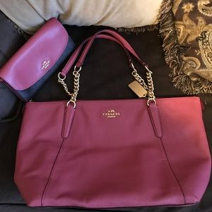 Coach Pebble Leather Rouge Ava chain bag & wallet